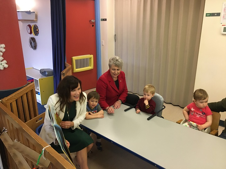 Lesly Lutes of the Children's Learning Centre, left, and Katrine Conroy, B.C.'s Minister of Children and Family Development, were at UBC Okanagan in Kelowna on Friday to announce funding upgrades to a childcare centre.