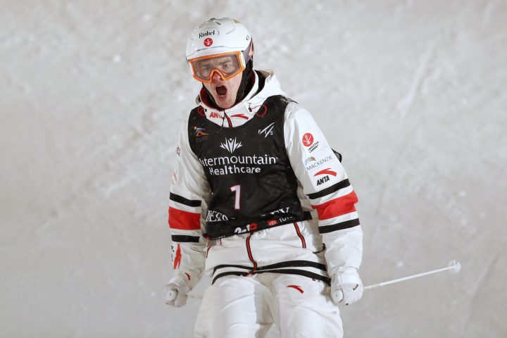 Mikael Kingsbury of Canada reacts after a run in the Dual Moguls competition during the FIS World Championships at Deer Valley Resort in Park City, Utah. Feb. 9, 2019.