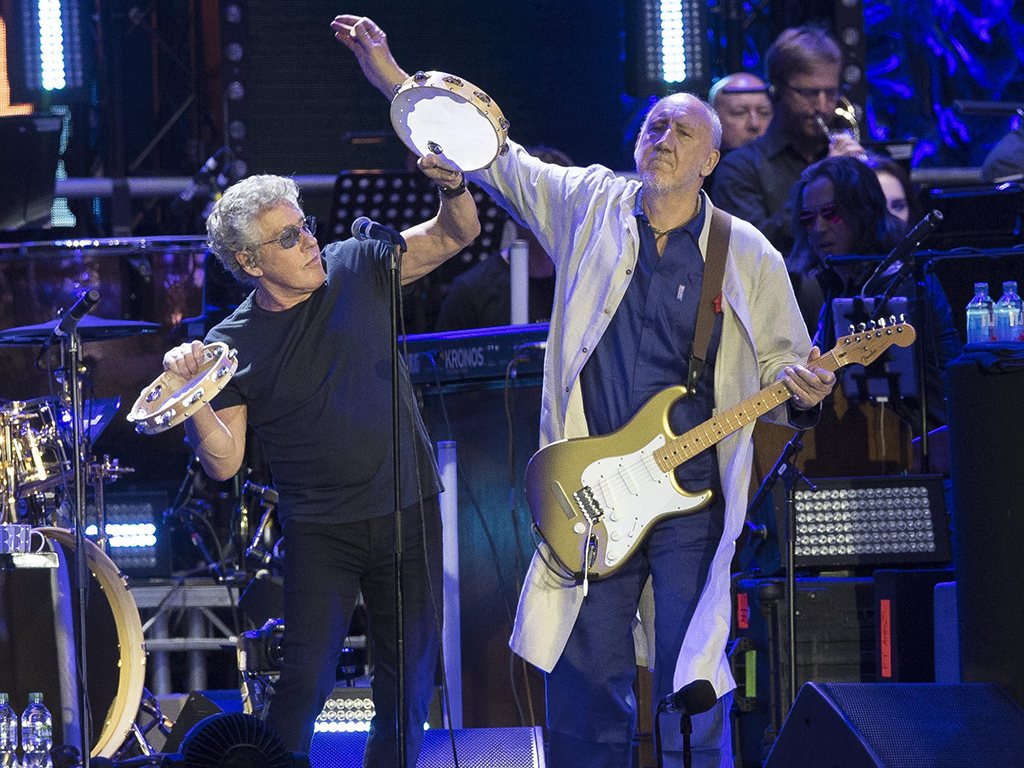 Roger Daltrey (L) and Pete Townsend (R) of The Who perform onstage as part of the Moving On! tour at Wembley Stadium in London, England, on July 6, 2019.