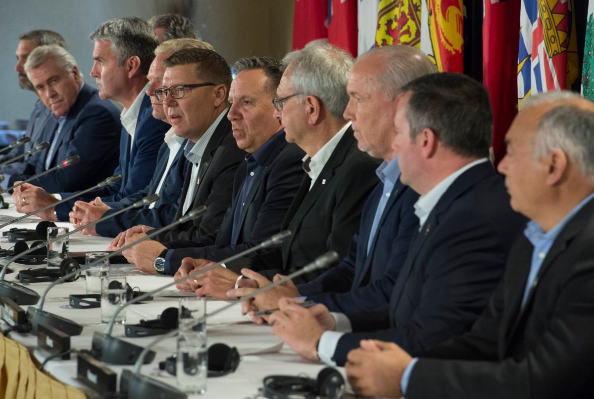 In this file photo, Canada's premiers are shown during a news conference following a meeting in Saskatoon, Sask. Thursday, July 11, 2019.