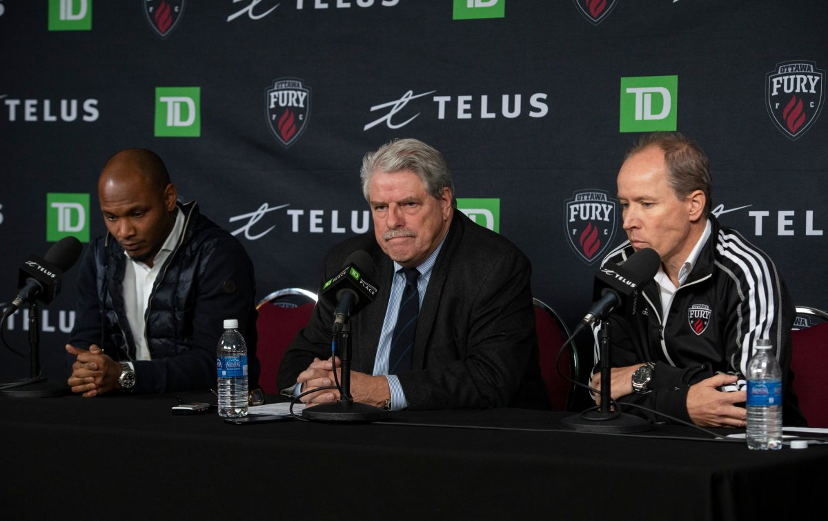 Ottawa Fury general manager Julian de Guzman, Fury president John Pugh and Ottawa Sports and Entertainment president and CEO Mark Goudie take questions during a press conference announcing the team's suspension of operations for the 2020 season, in Ottawa, on Friday, Nov. 8, 2019.