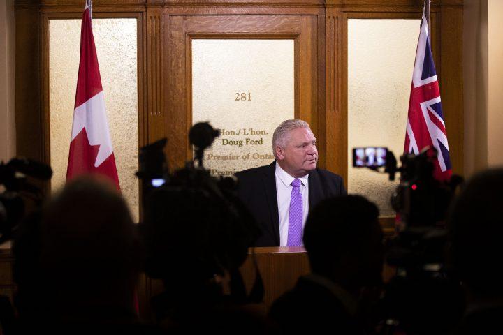 Ontario Premier Doug Ford speaks to the media outside of his office in the Ontario Legislature in Toronto on Thursday Nov. 21, 2019.