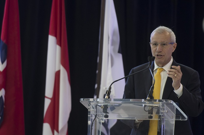 Vic Fedeli, Minister of Economic Development, Job Creation and Trade of Ontario, speaks during a press conference announcing that Bombardier Inc. has secured a long-term lease from the Greater Toronto Airport Authority to build its flagship business jet at Pearson airport, in Mississauga on Wednesday, December 4, 2019.