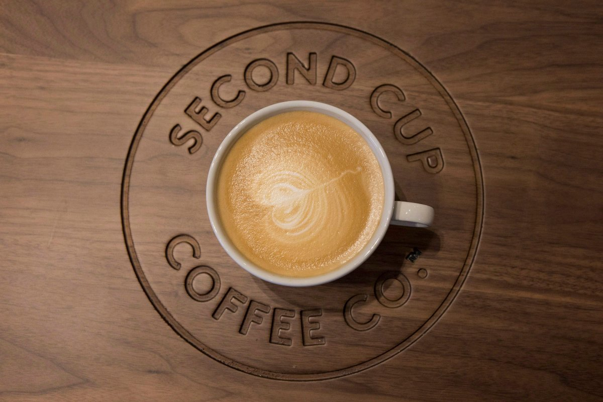 A detail shot of a flat white coffee at a Second Cup Coffee outlet in Toronto on Thursday, December 4, 2014. The Second Cup Ltd. says it has agreed to buy Ottawa-base Bridgehead Coffee in a $9.5 million deal.