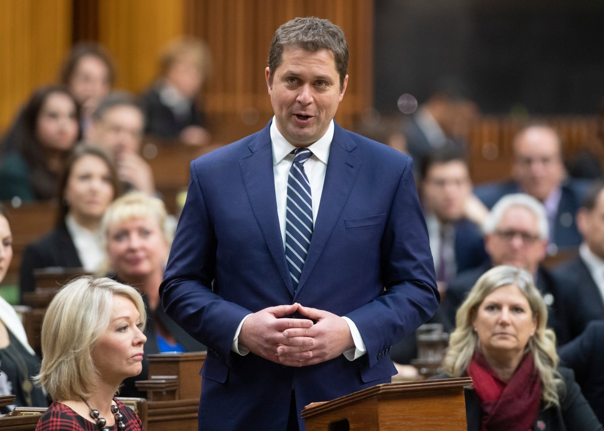 Leader of the Opposition Andrew Scheer announces he will step down as leader of the Conservatives, Thursday December 12, 2019 in the House of Commons in Ottawa.
