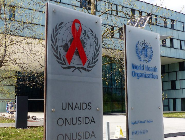 In this file photo dated April 8, 2019, showing the headquarters building of UNAIDS in Geneva.