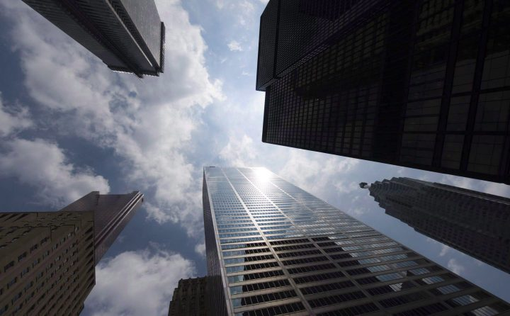 Bank towers are shown from Bay Street in Toronto's financial district.