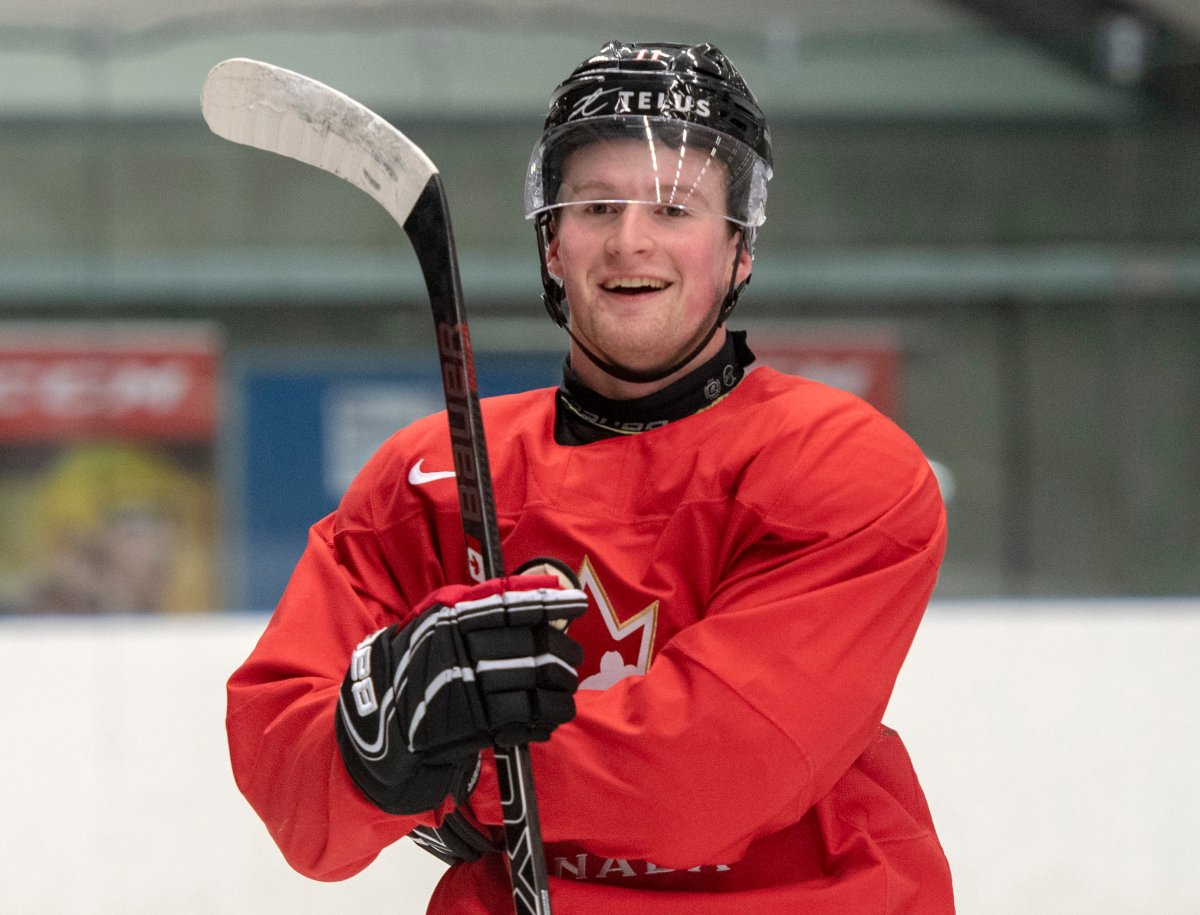 Canada's Alexis Lafreniere smiles during practice at the World Junior Hockey Championships in Ostrava, Czech Republic, Friday, Dec. 27, 2019.