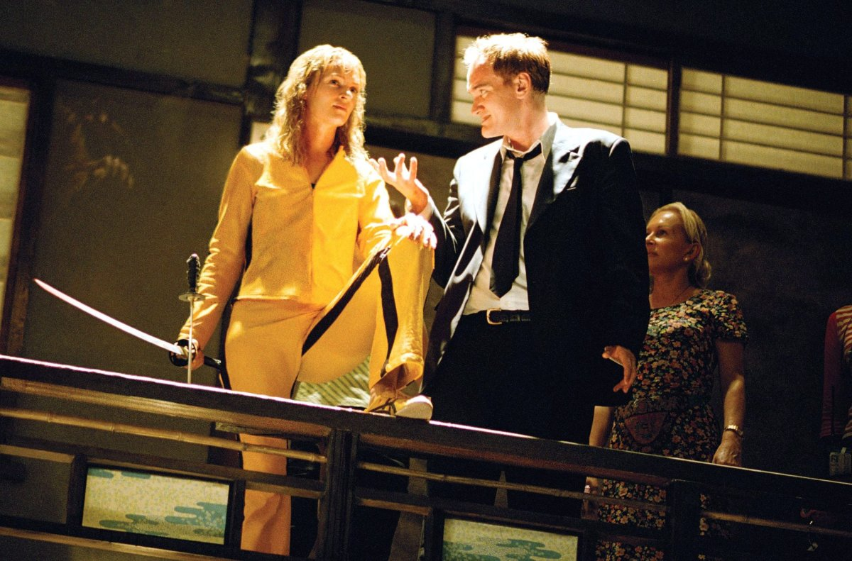 Uma Thurman and Quentin Tarantino on set during the filming of 'Kill Bill: Volume 2' in 2004.