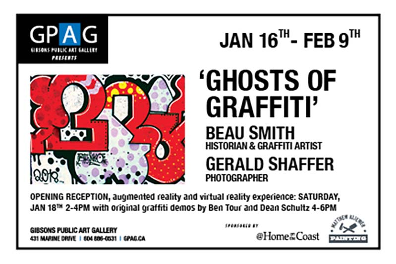 Presented by The Graffiti Museum, Our new exhibit celebrates public art in Gibsons BC. Focusing on 20 years of Graffiti at Mollys Lane these extraordinary images allow greater access to folks that may feel intimidated by the Graffiti public art scene. The massive Graffiti Giclees hung on the GPAG walls are clean and crisp and exploding with art. Paired with a softer background of classical music and catered by Elleles of Gibsons Public Market the overall effect should be dramatic. Live Demos at the opening party by renowned artists Ben Tour and Dean Schutz, history presentation by Beau Smith and a gallery full of New and vintage public Art. Dont forget to download the AR app Eye-jack to get even more from the show as well as to sign up for Virtual Reality Demos and experiences. Ghosts of Graffiti Exhibit is sure to be a full of fun and amazement exhibit no matter what. See our website for more info and a chance to win a featured Canvas. . Www.thegraffitimuseumcompany.com @ Gibsons Public Art Gallery.