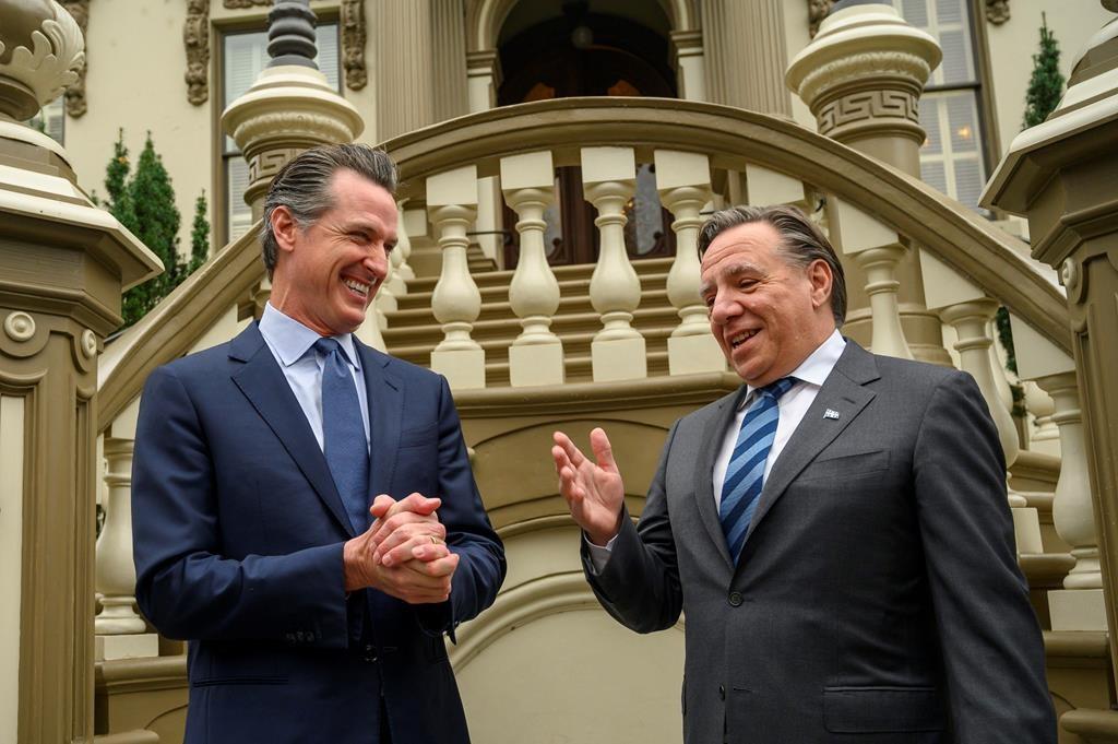 California Gov. Gavin Newsom meets with François Legault, Premier of Quebec, at the Stanford Mansion on Wednesday, Dec. 11, 2019, in Sacramento, Calif.
