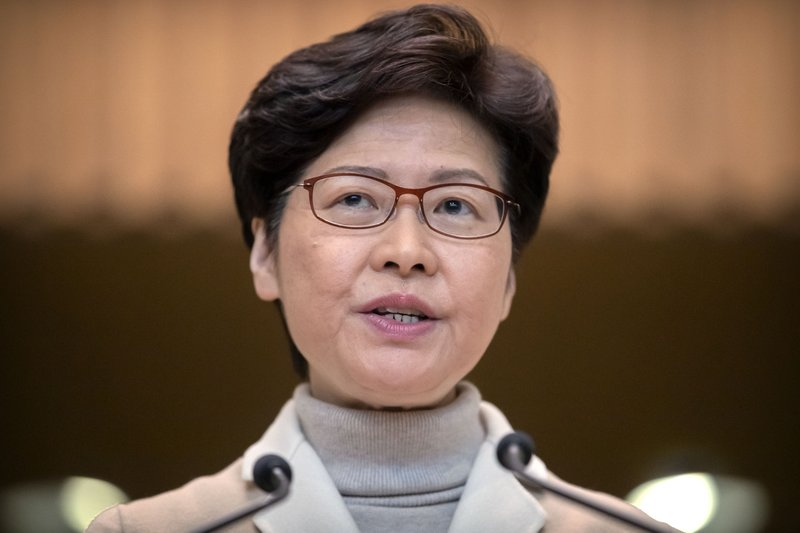 "FILE- In this Dec. 10, 2019, file photo, Hong Kong Chief Executive Carrie Lam speaks during a news conference at the Office of the Chief Executive in Hong Kong. Months of pro-democracy protests in Hong Kong have brought ""sadness, anxiety, disappointment and even rage,"" the city's leader said Tuesday, Dec. 31, vowing to tackle underlying social and economic problems in the coming year."