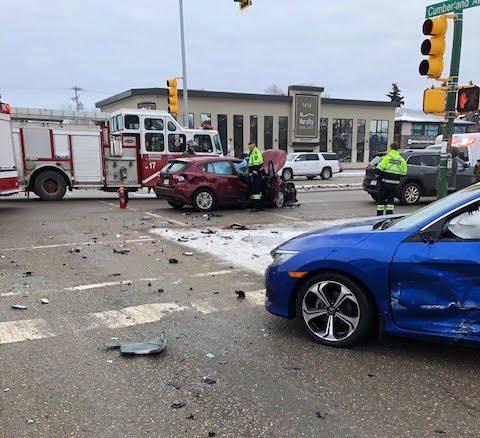 Fire crews on the scene of a three-vehicle collision on Saturday in Saskatoon.