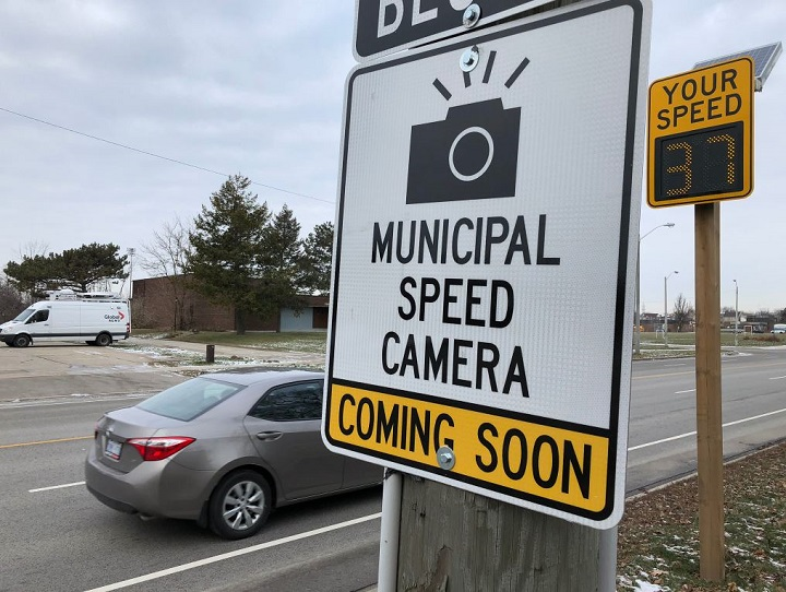 A warning sign for an upcoming photo radar unit in Toronto, prior to the city's first installation of the cameras in late 2019.