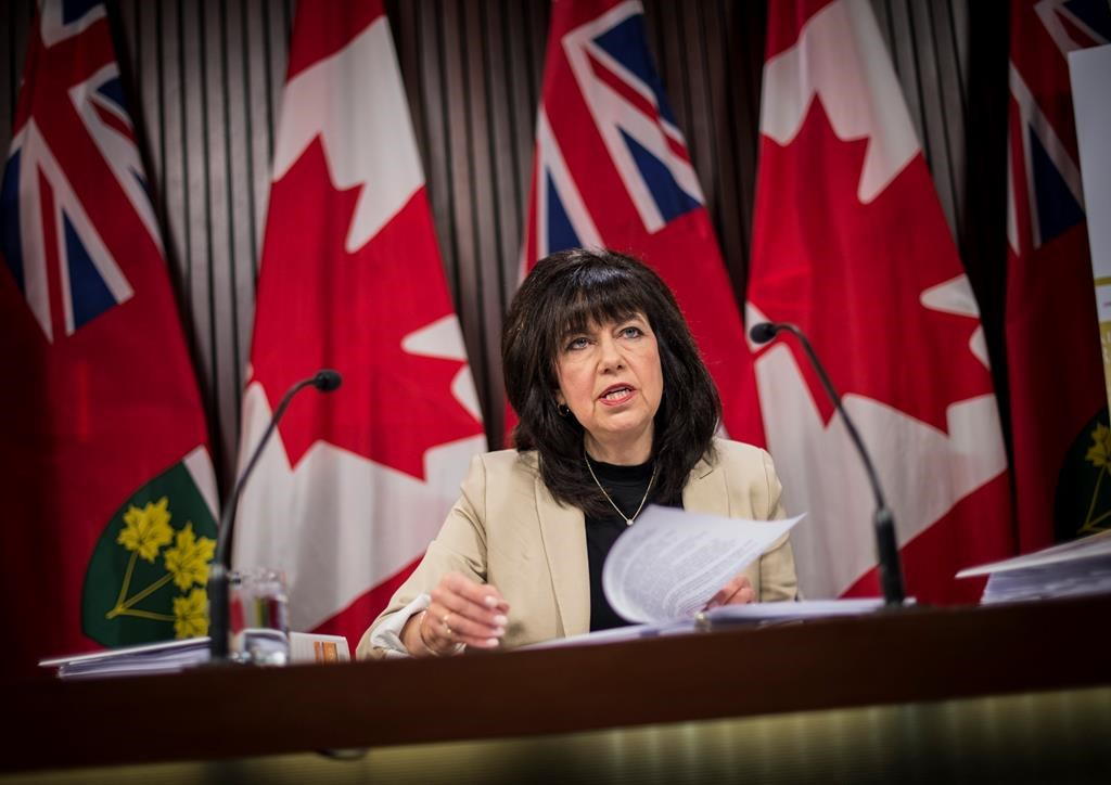 Ontario Auditor General Bonnie Lysyk speaks during a press conference at Queens Park after the release her 2019 annual report in Toronto on Wednesday December 4, 2019. The report highlighted that Ontario was not on track to acheiving it's emissions reductions targets. THE CANADIAN PRESS/Aaron Vincent Elkaim.