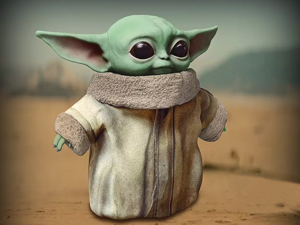 'The Child' or Baby Yoda official 11-inch plush doll by Mattel, inspired by Disney's 'The Mandalorian.'.