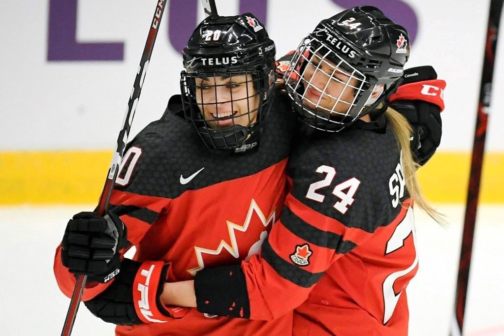 FILE - In this April 4, 2019, file photo, Canada's Sarah Nurse, left and Natalie Spooner celebrate Spooner's goal against Switzerland during a Hockey Women's World Championships preliminary match in Espoo, Finland.