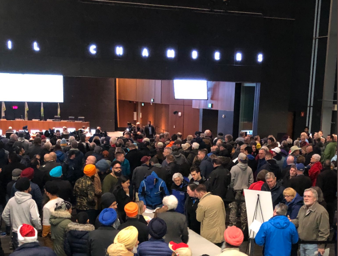 Hundreds of people packed into Surrey city hall Monday night for the 2020 budget vote.