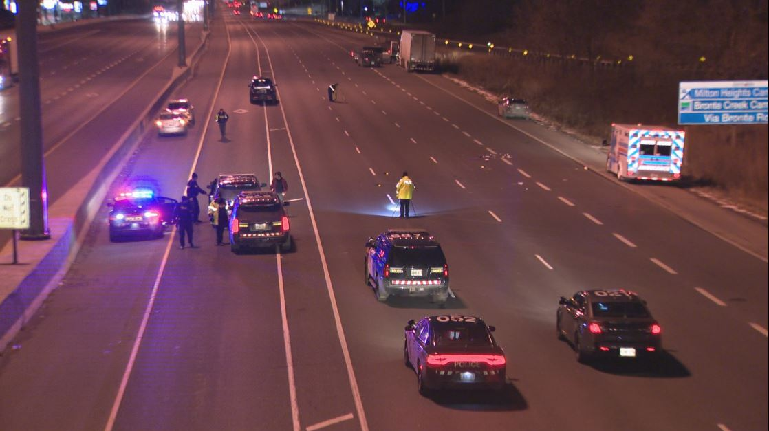 OPP shut down part of the QEW near Dorval Road Thursday evening.