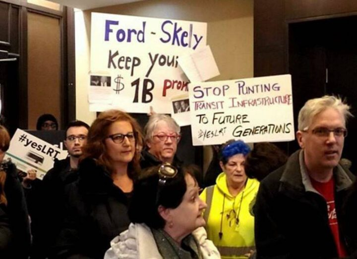 Protesters disrupted a planned news conference on December 16, the day Hamilton's LRT project was cancelled by the provincial government.