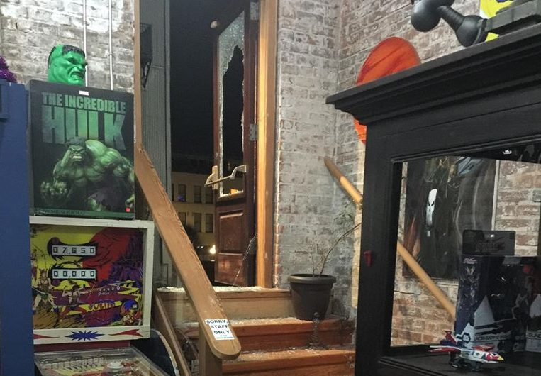 The damage seen from inside Cherry Bomb Toys in Victoria after thieves broke in through the back door and stole a donation box for the National Toy Museum early on Dec. 13, 2019.