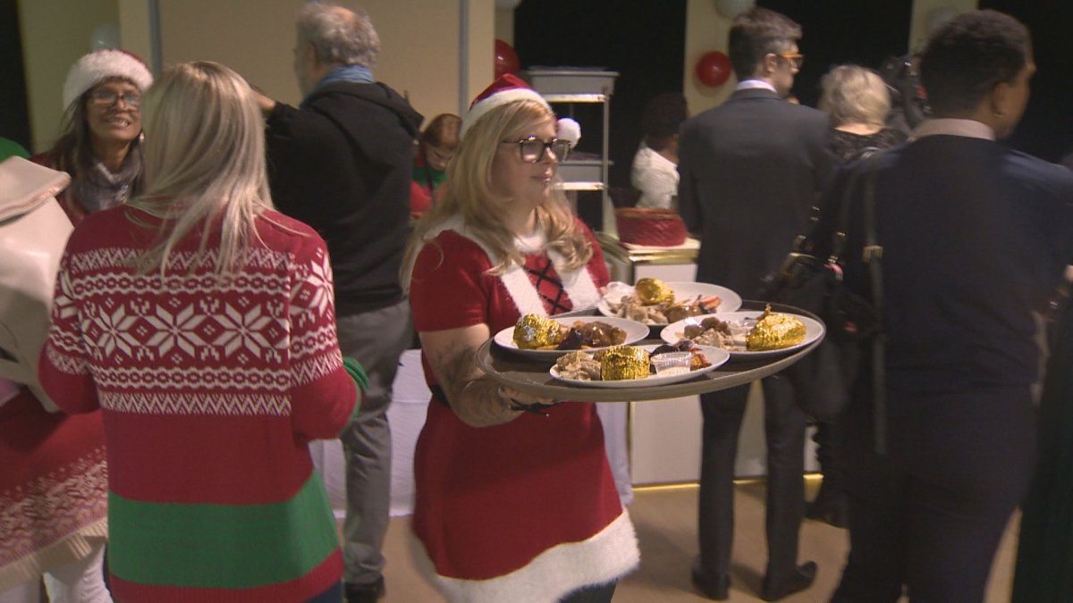 Nearly 300 meals were served during Chez Doris' annual Christmas party on Tuesday.