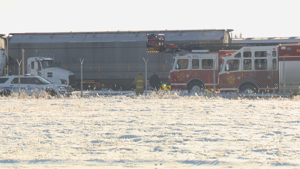 Firefighters extracted a man from a grain auger at the CN rail yard in Regina Monday afternoon.
