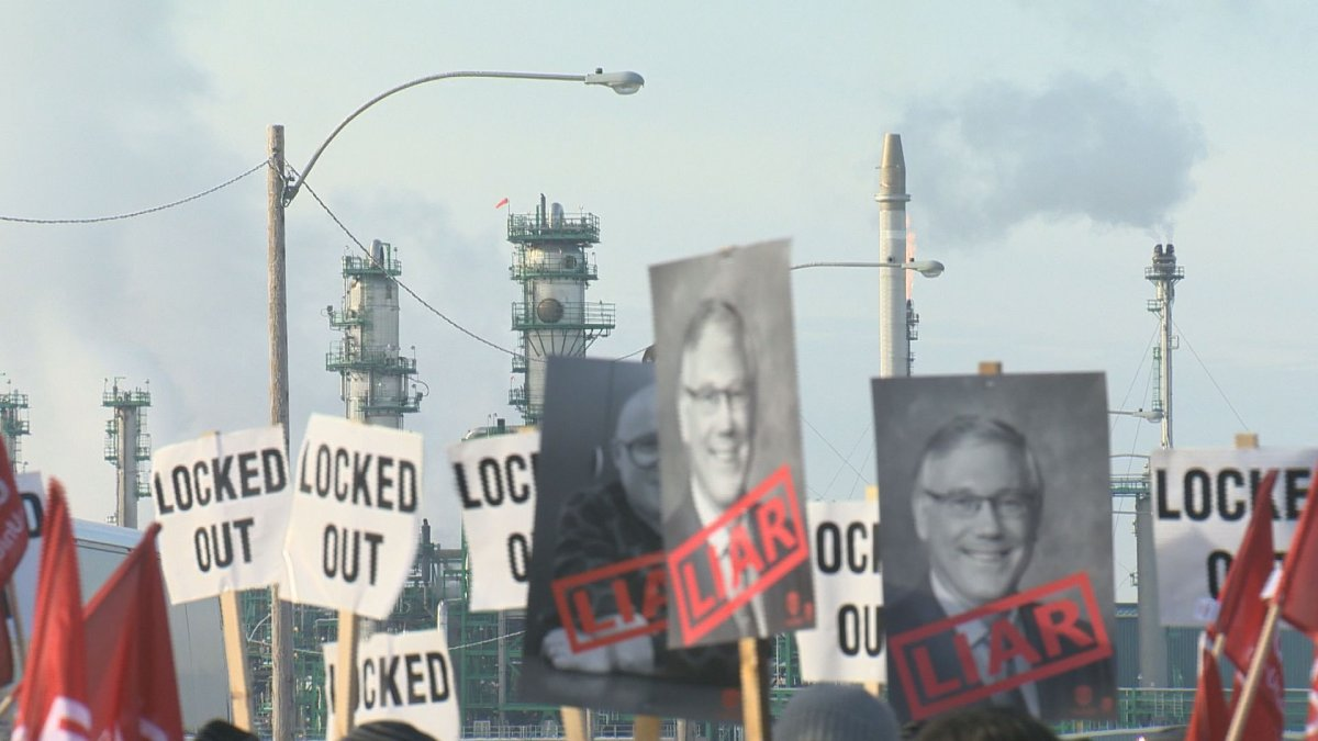 Unifor members held a rally outside of the Co-op Refinery in Regina Friday during the second day of the lockout.