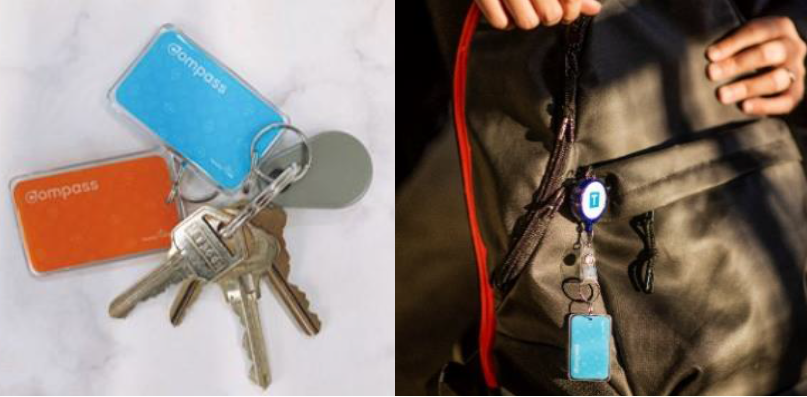 Compass Mini works just like a regular Compass card but can be clipped onto your keys or bag.