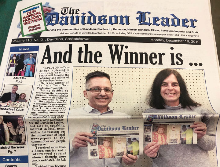 Contestant wins small-town newspaper in Sask.