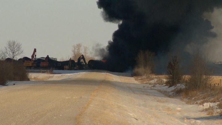 TSB investigators at site of fiery Saskatchewan CP train derailment