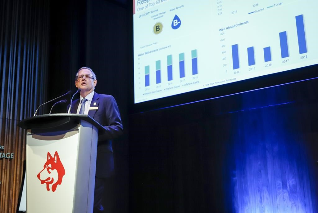Husky Energy president and CEO Rob Peabody addresses the company's annual meeting in Calgary, Friday, April 26, 2019.