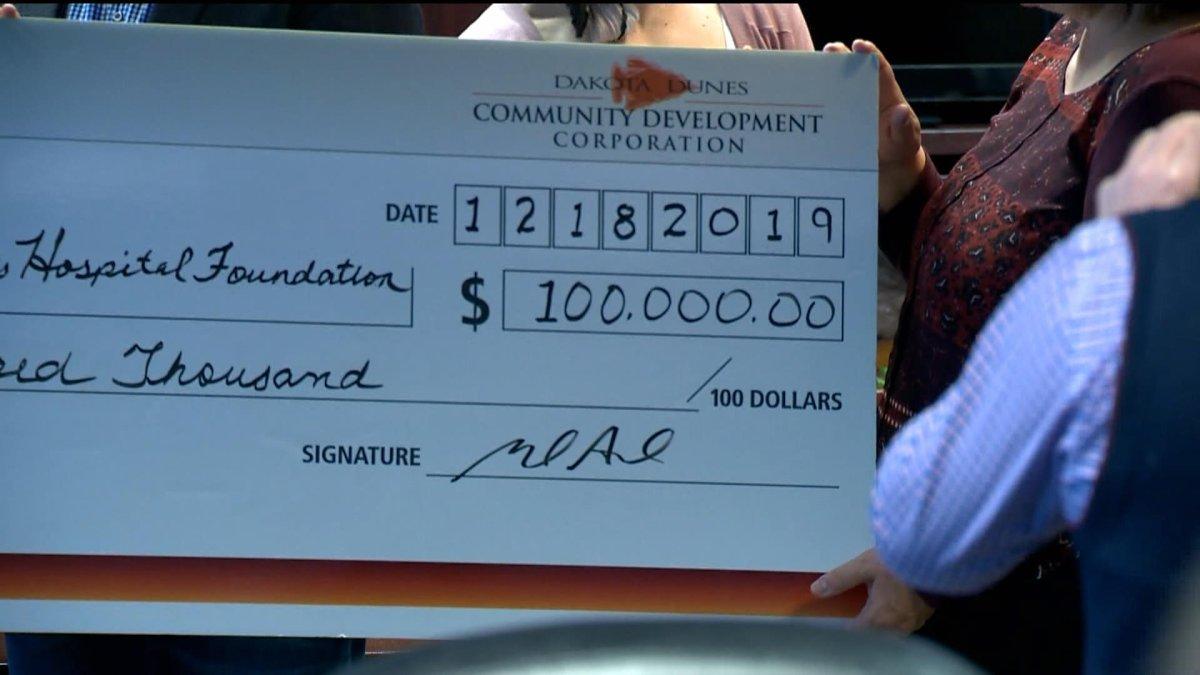 Saskatoon Tribal Chief Mark Arcand said the donation to St. Paul's Hospital Foundation for a hospice is meaningful to Dakota Dunes.