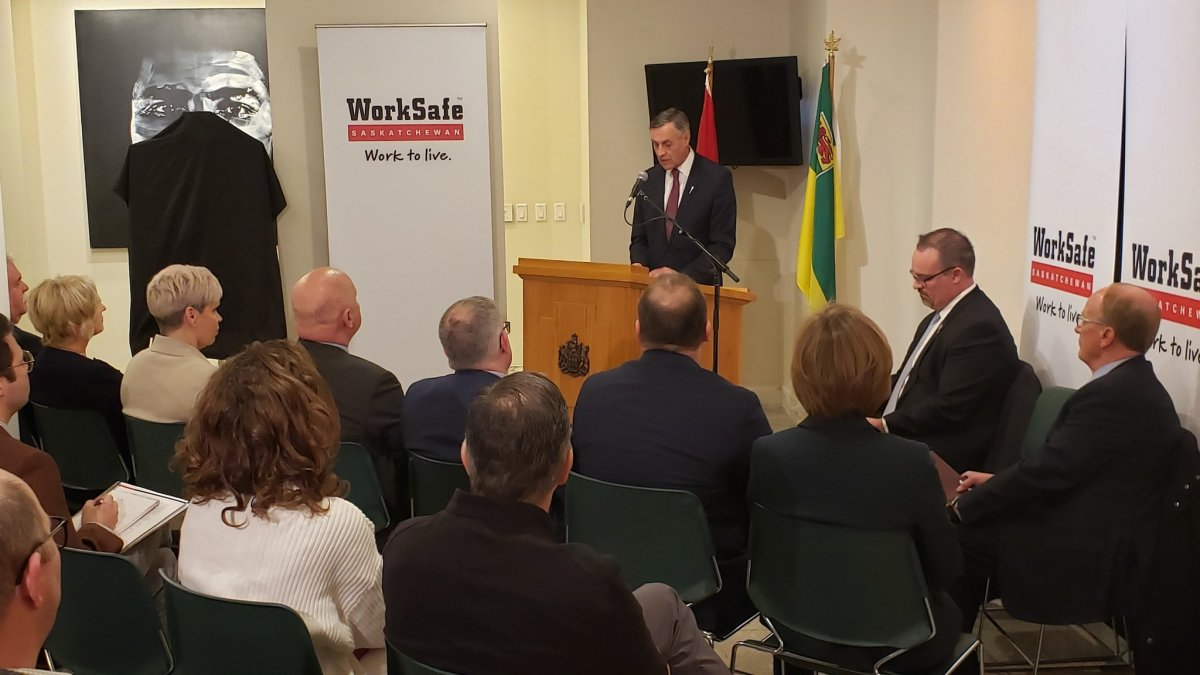 Saskatchewan Labour and Workplace Safety Minister Don Morgan unveils a three-year workplace injury/fatality reduction strategy on Dec. 2, 2019.
