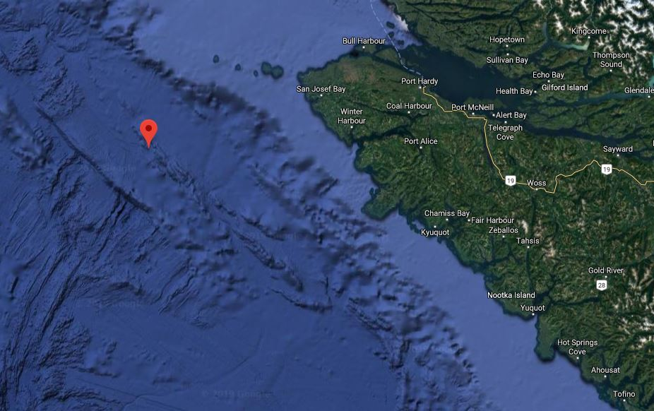 The location of a 3.6-magnitude earthquake that struck off the coast of Vancouver Island on Dec. 25, 2019.