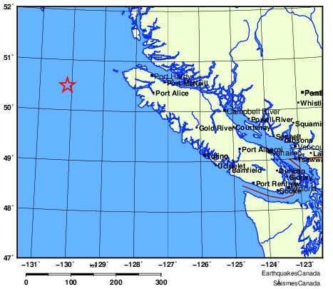 An earthquake struck off the BC coast Christmas Eve, according to Earthquakes Canada, making it the seventh quake in two days in the region.
