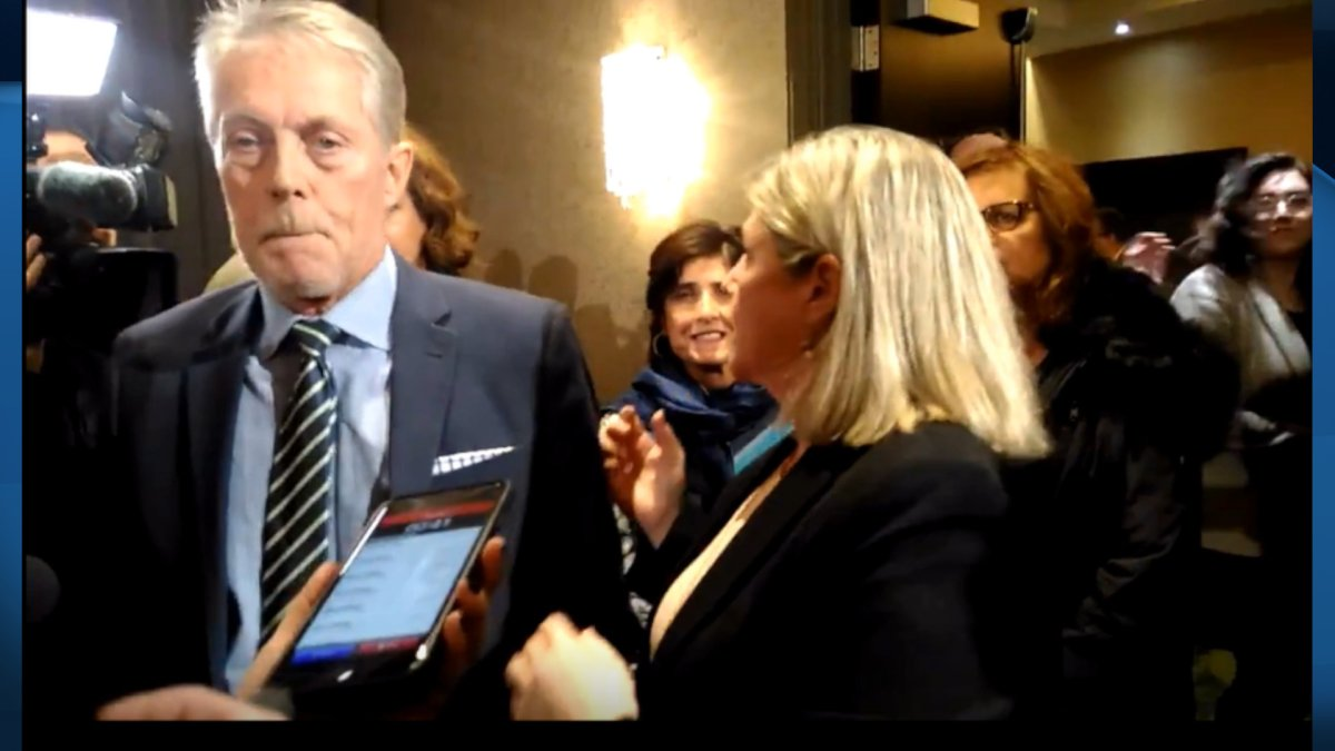 Mayor Fred Eisenberger and Ontario NDP leader Andrea Horwath at the downtown Sheraton after the province told them Hamilton's LRT project was cancelled.