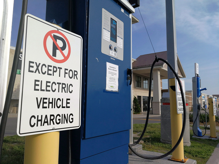 An electric car charging station is shown at Lansdowne Mall in Peterborough, Ontario on Sunday June 17, 2018.