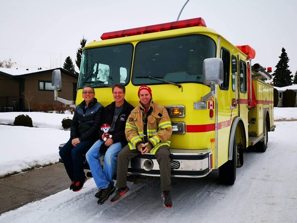 Roger Poon (L), Brad Volovich and Chris Hardeman have successfully delivered a fire truck all the way from Edmonton to Puerto Morelos, Mexico.