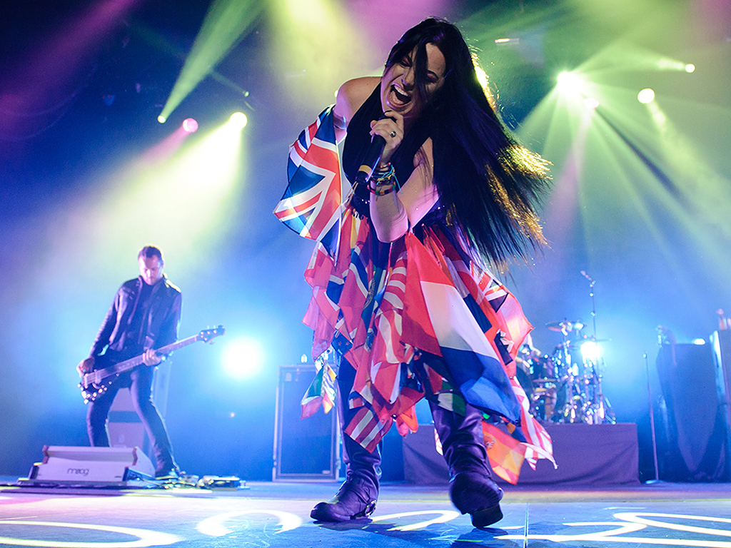 Amy Lee of Evanescence performs on stage at Wembley Arena on Nov. 9, 2012 in London, United Kingdom.