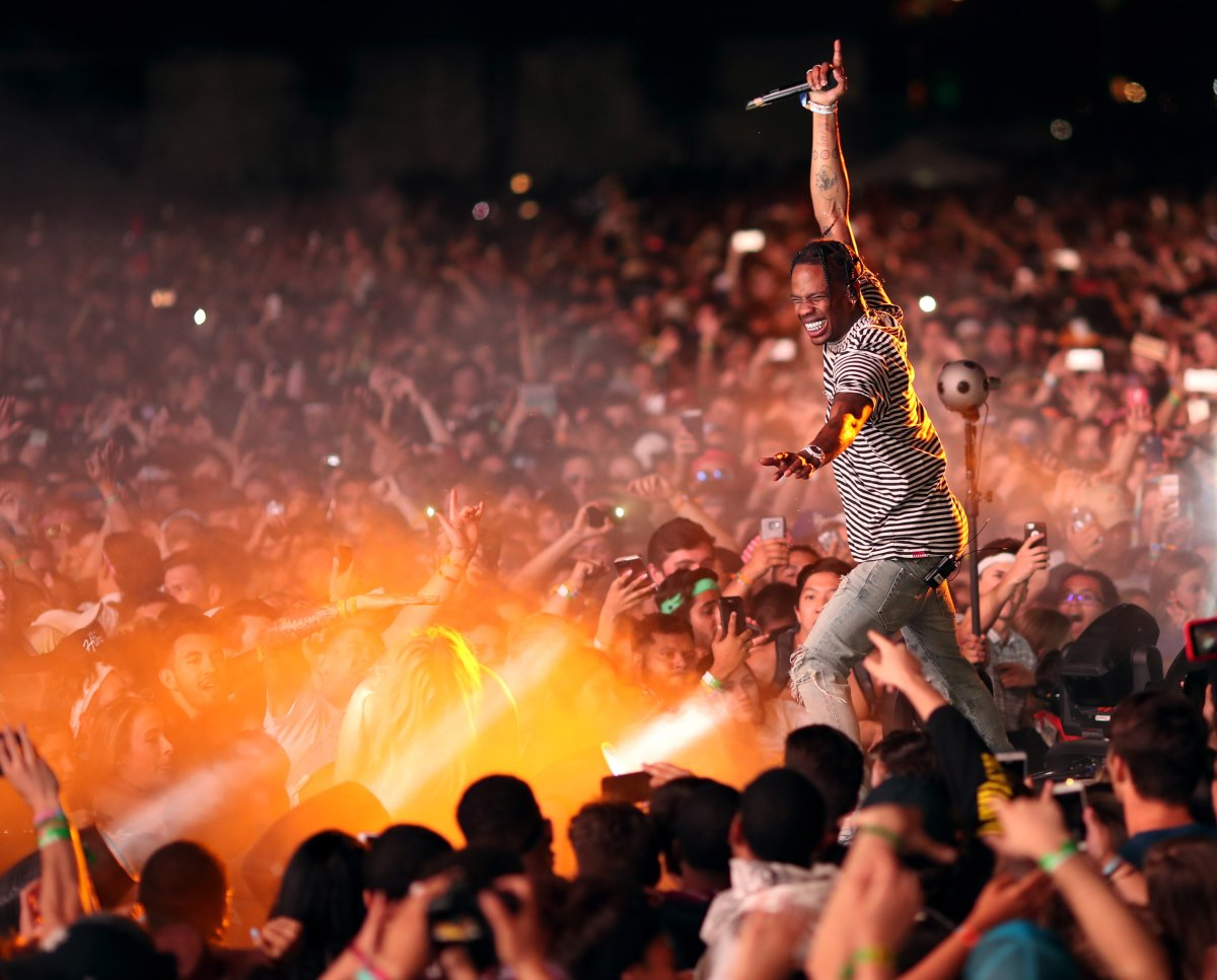 Rapper Travis Scott performs on the outdoor stage during Day 1 of the Coachella Valley Music and Arts Festival (Weekend 1) at the Empire Polo Club on April 14, 2017 in Indio, Calif.