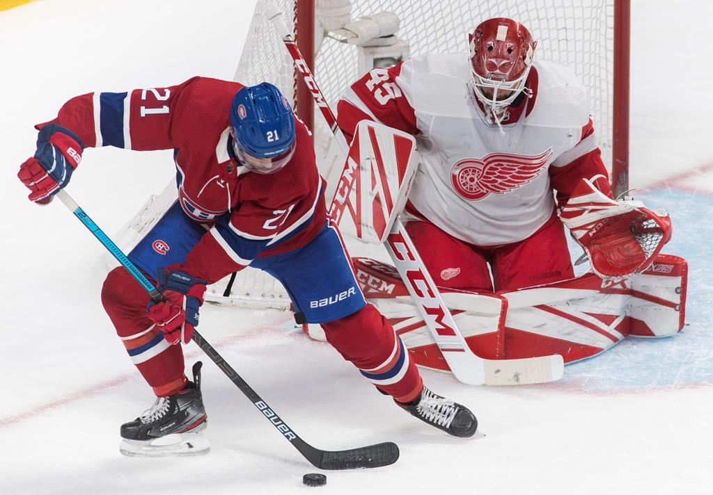 Montreal Canadiens' Nick Cousins moves in on Detroit Red Wings goaltender Jonathan Bernier during first period NHL hockey action in Montreal, Saturday, Dec. 14, 2019.