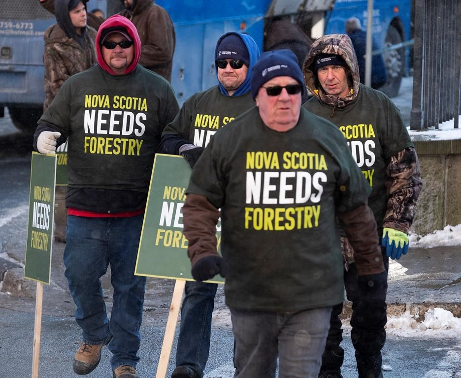 Forestry sector workers stand outside the legislature in Halifax during a union-sponsored rally on Thursday Dec. 19, 2019.