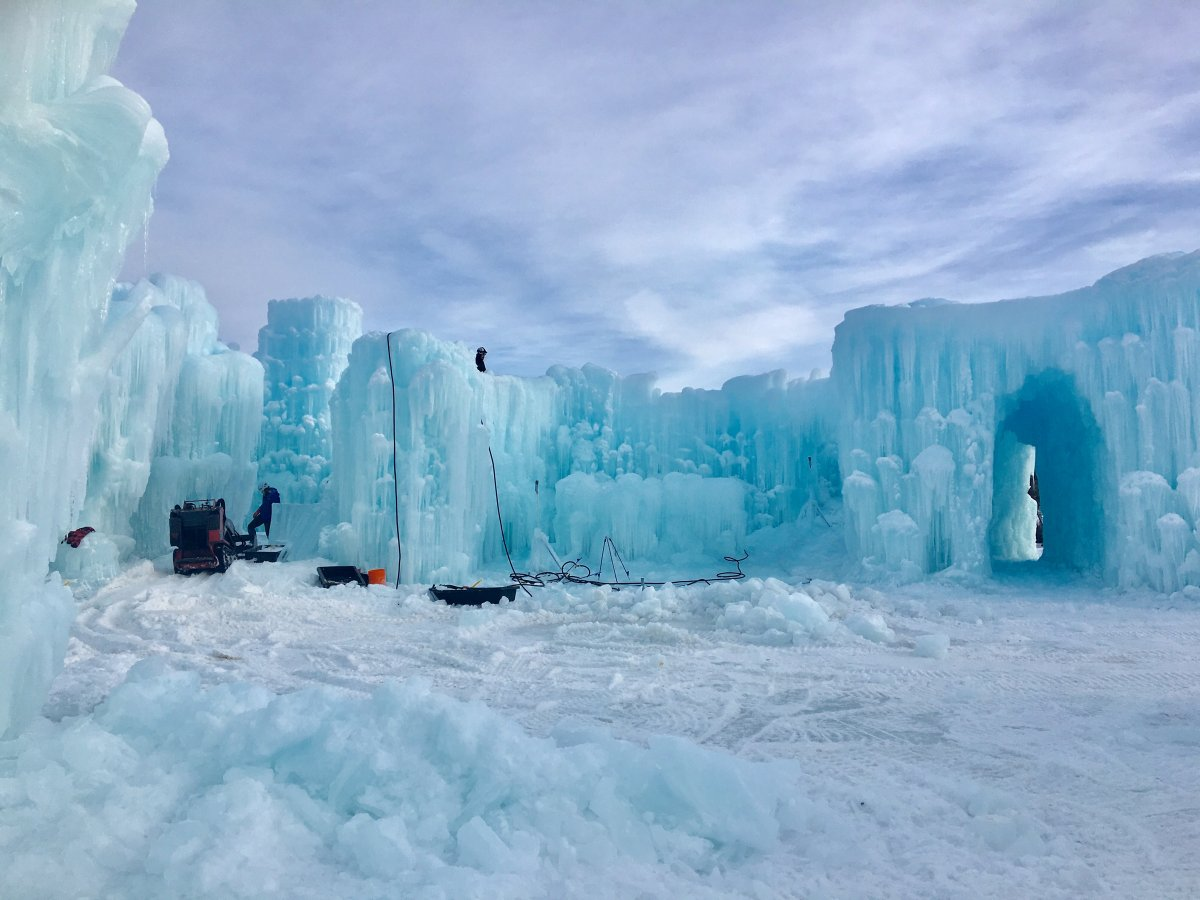 Crews working to construct the Ice Castles on Dec. 31, 2019.