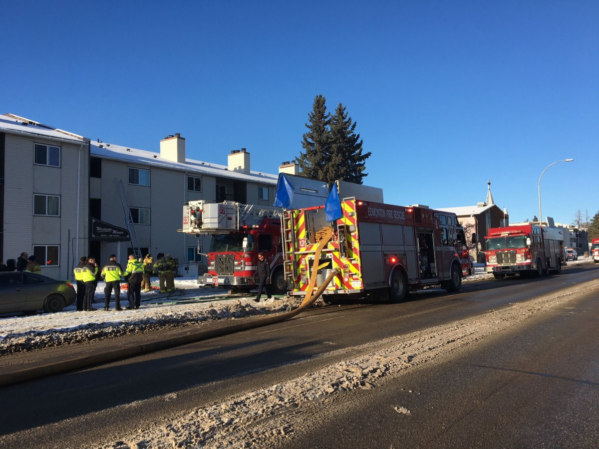 Fire crews responded to a fire at an apartment in west Edmonton on Sunday, Dec. 22, 2019.
