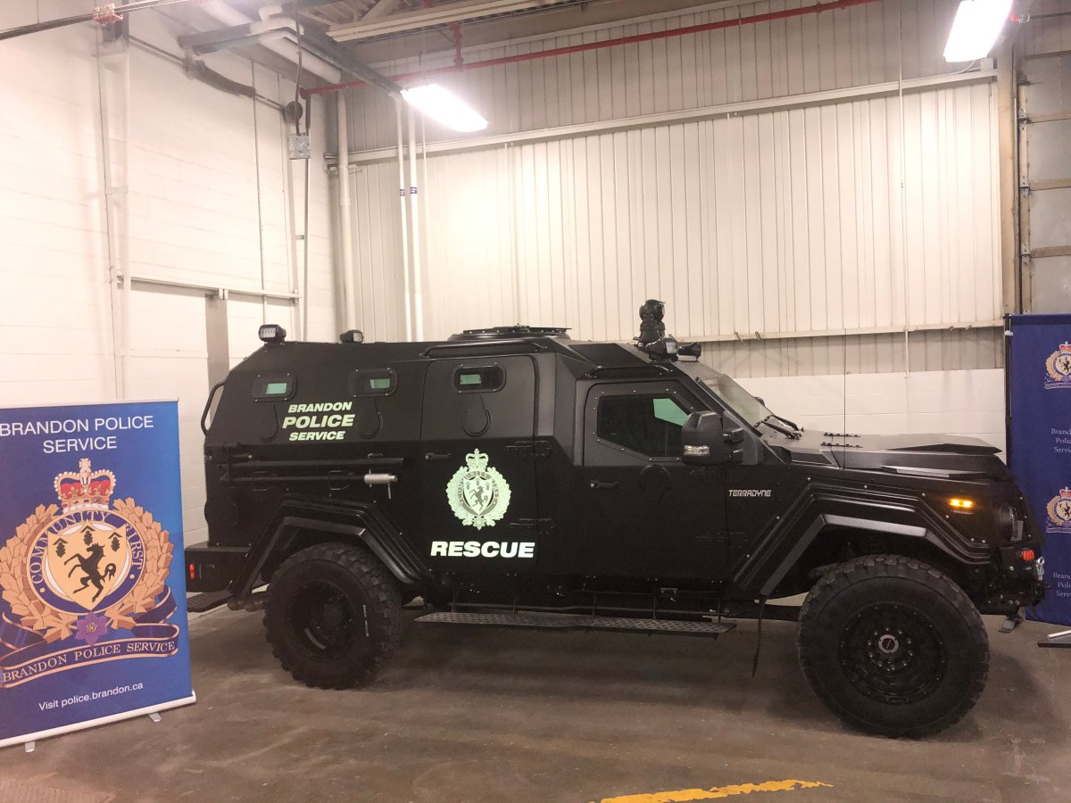 Brandon police's new armoured response vehicle was unveiled Thursday.