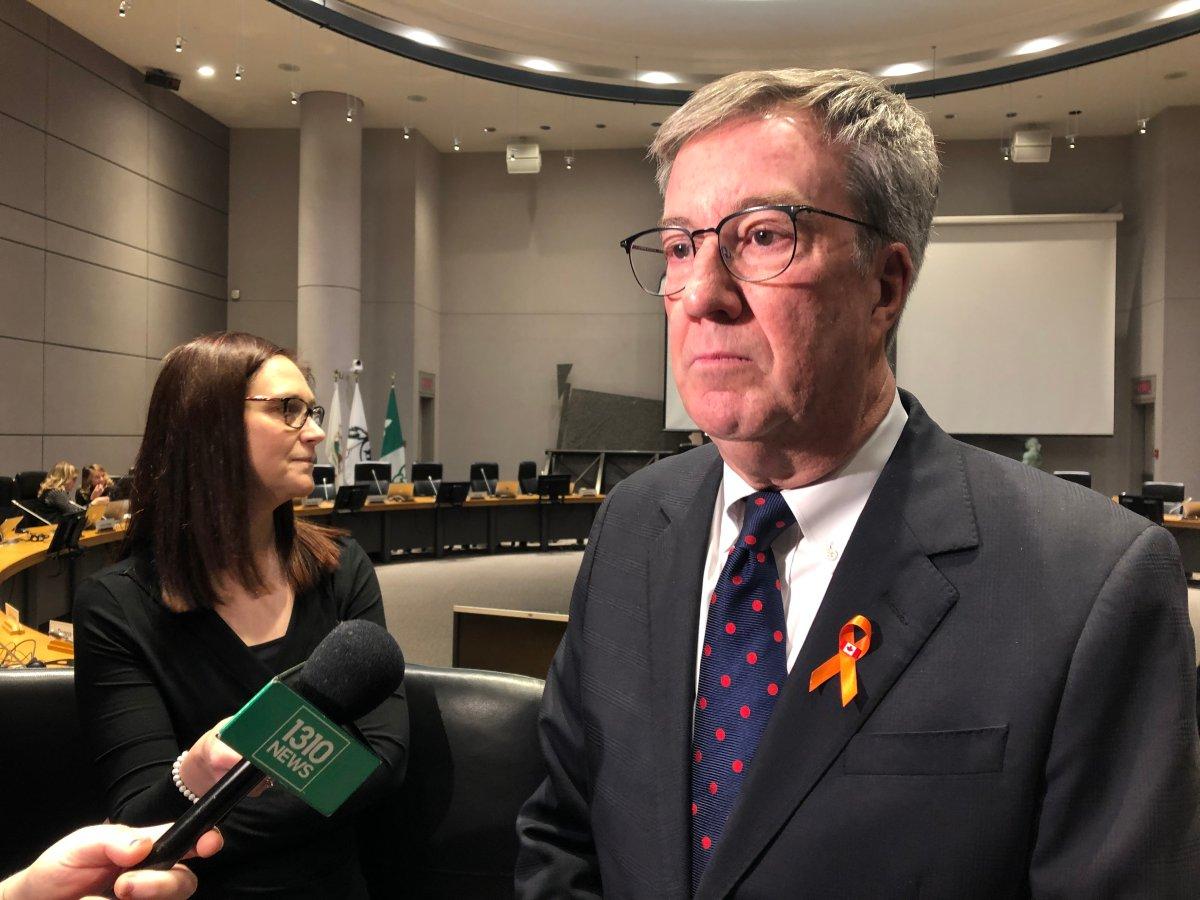 Ottawa Mayor Jim Watson speaks to reporters at city hall on Nov. 27, 2019.