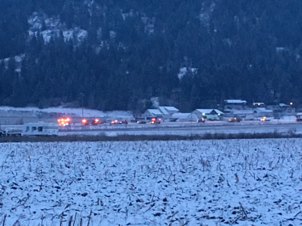 Emergency vehicles respond to a fatal collision on Highway 97A in the north Okanagan on Sunday afternoon.