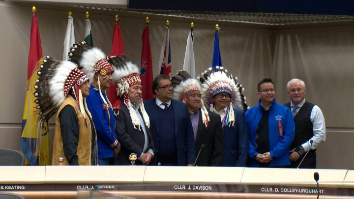 The City of Calgary has raised the flags of all member nations of Treaty 7 and Métis Nation of Alberta Region 3 in city council chambers.