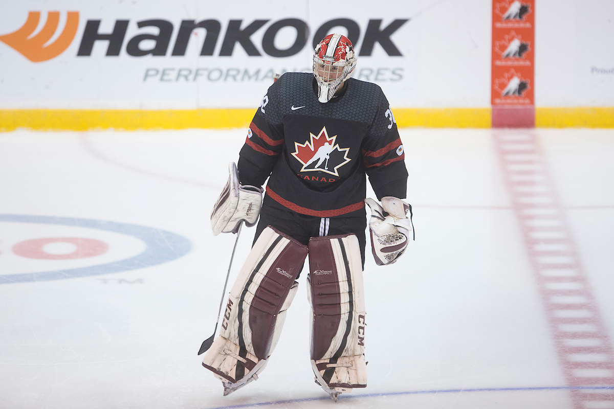 Hunter Jones playing with Canada at the 2016 World Under-17 Hockey Challenge.